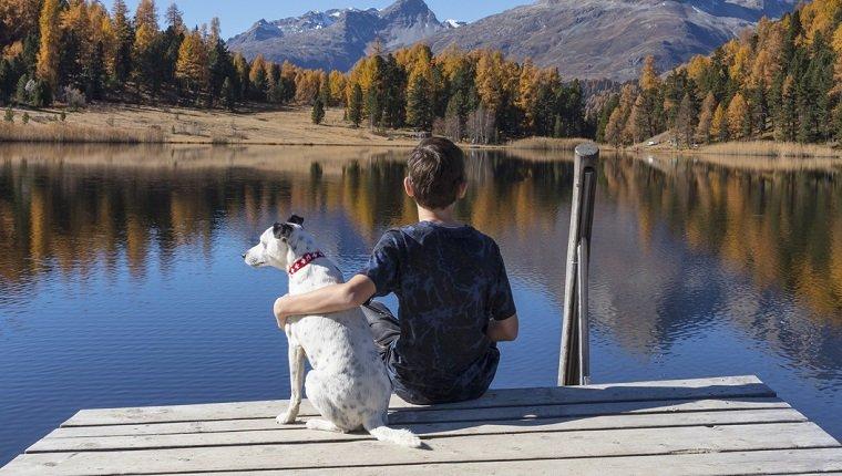 Ein Kind und ein Hund schauen auf den Stazersee in der Schweiz.