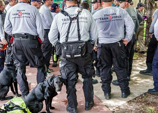 Florida, Miami Beach, Surfside, Champlain Towers South Condominium Building Collapse, FEMA Florida Task Force Urban Search & Rescue briefing members.